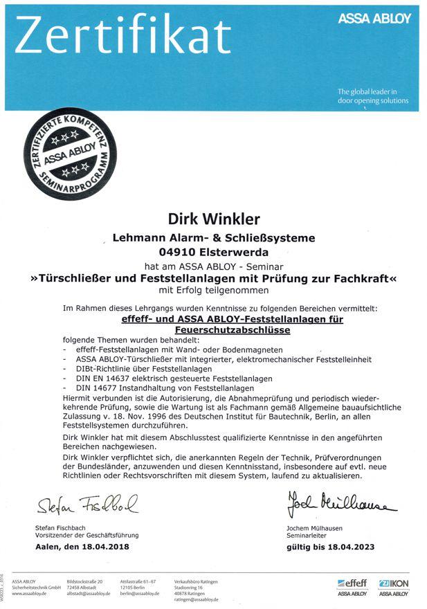 Zertifikat Feststell Winkler